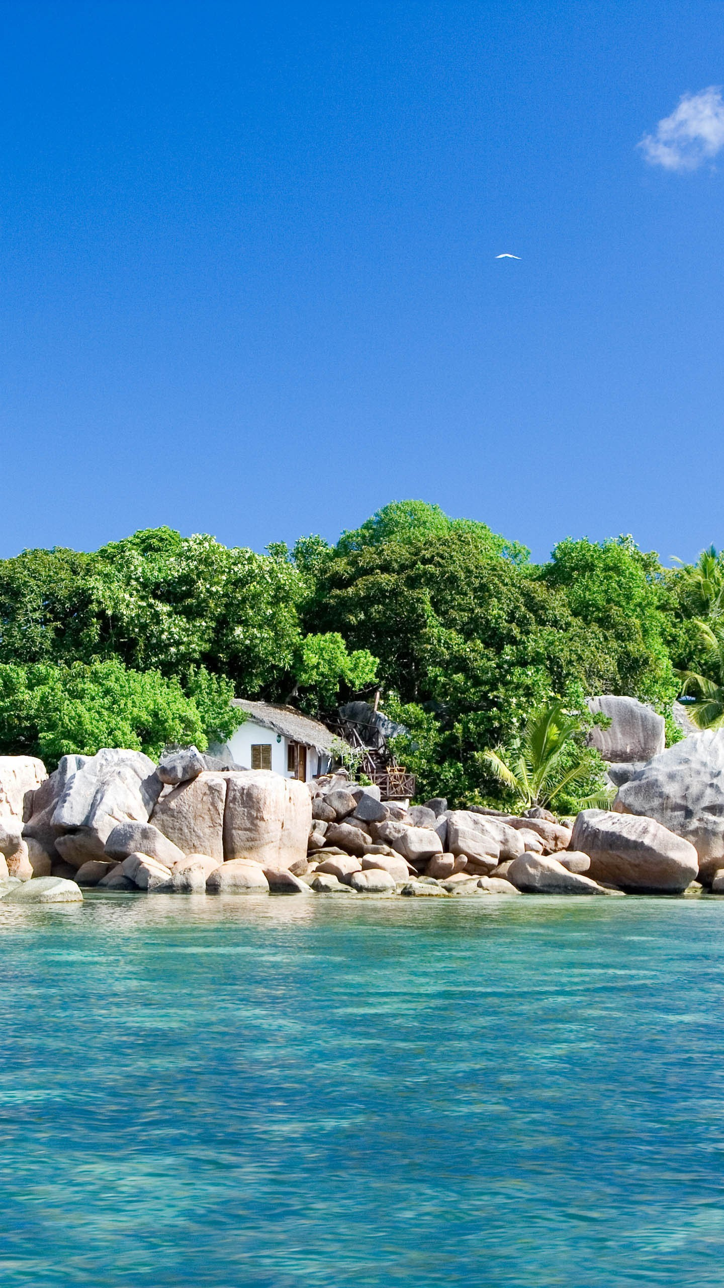 house at the beach in an island wallpaper background